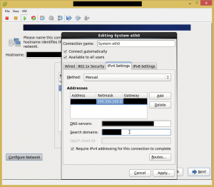 Fill in IP address, netmask, gateway, DNS servers, and DNS search string