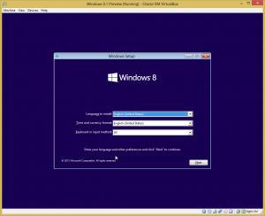 Windows install start screen