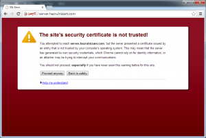 Set up WordPress - Certificate error