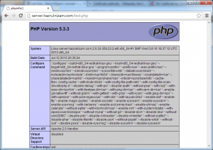 Set up WordPress - PHP info page