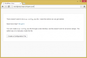 Set up WordPress - WordPress error page