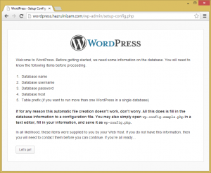 Set up WordPress - Create configuration file page
