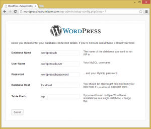 Set up WordPress - Setup Configuration page