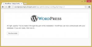 Set up WordPress - Configuration success
