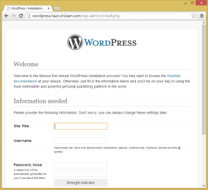 Set up WordPress - Install page