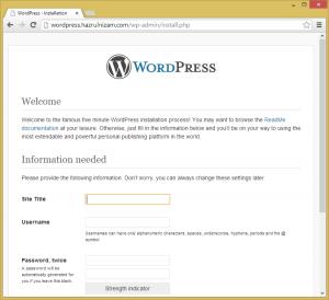 Set up WordPress - Install page
