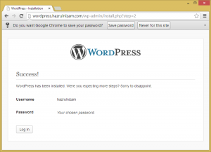 Set up WordPress - Install success page