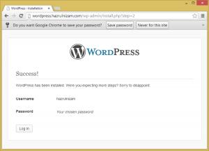 Set up WordPress - Install success page