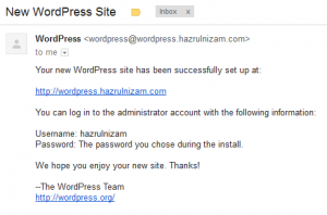 Set up WordPress - New WordPress Site email