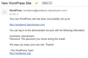 Set up WordPress - New WordPress Site email