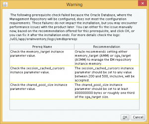 Database parameter mis-match warnings.