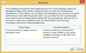 The remaining database parameter mis-match warning.